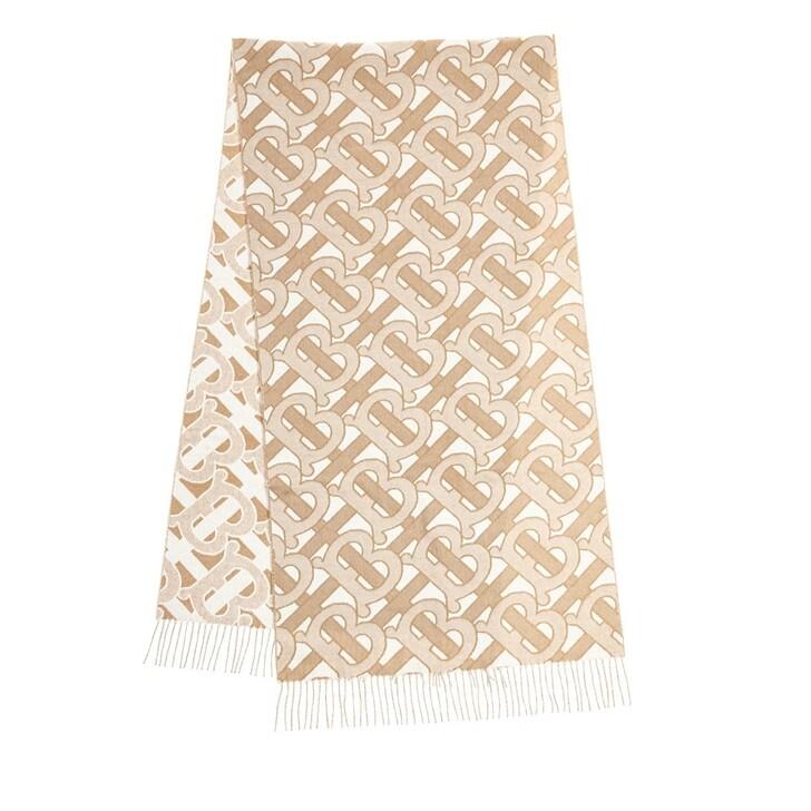 Schal, Burberry, Patterned Monogram Scarf Cashmere Light Sand