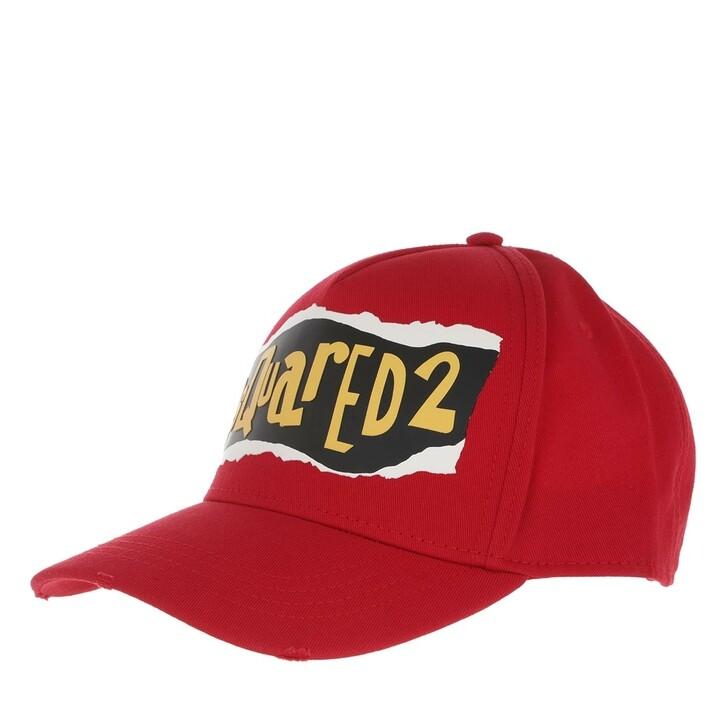 hats, Dsquared2, Peel Baseball Cap Red