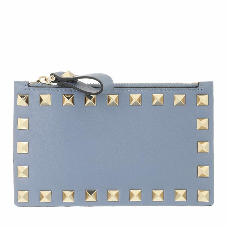 wallets, Valentino Garavani, Rockstud Coin Wallet Niagara Blue
