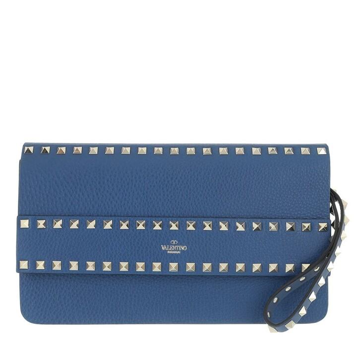 Handtasche, Valentino, Rockstud Clutch Leather Blu Delft