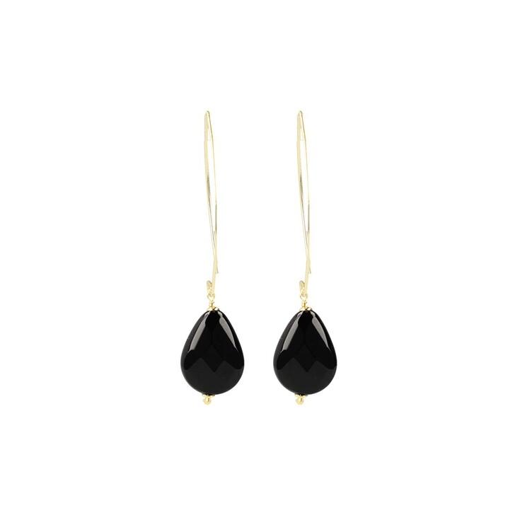 Ohrring, LOTT.gioielli, Quartz drop facet black Gold
