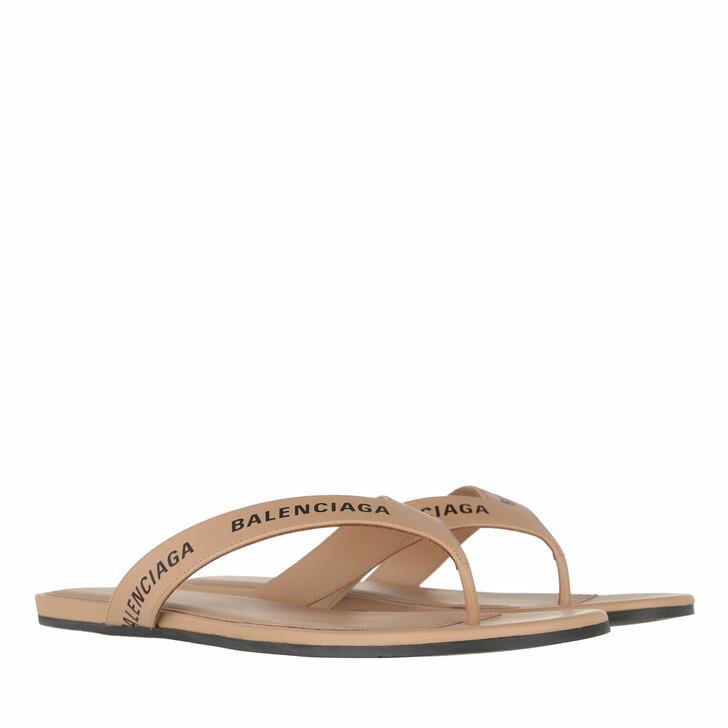 Schuh, Balenciaga, Logo Flip Flop Slippers Plain Leather Beige/Black