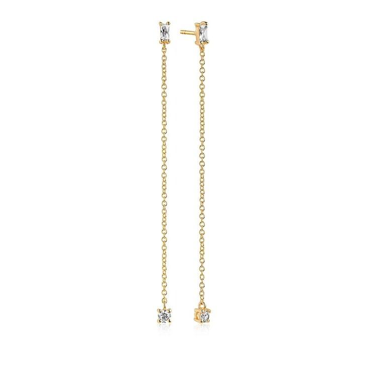 Ohrring, Sif Jakobs Jewellery, Princess Baguette Lungo Earrings Gold