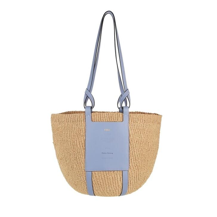 bags, Chloé, Mifuko Logo Straw Shopper Gentle Blue