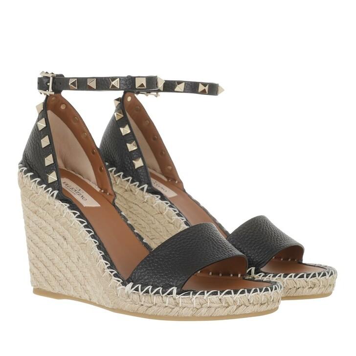 shoes, Valentino Garavani, Rockstud Wedge Sandals Black