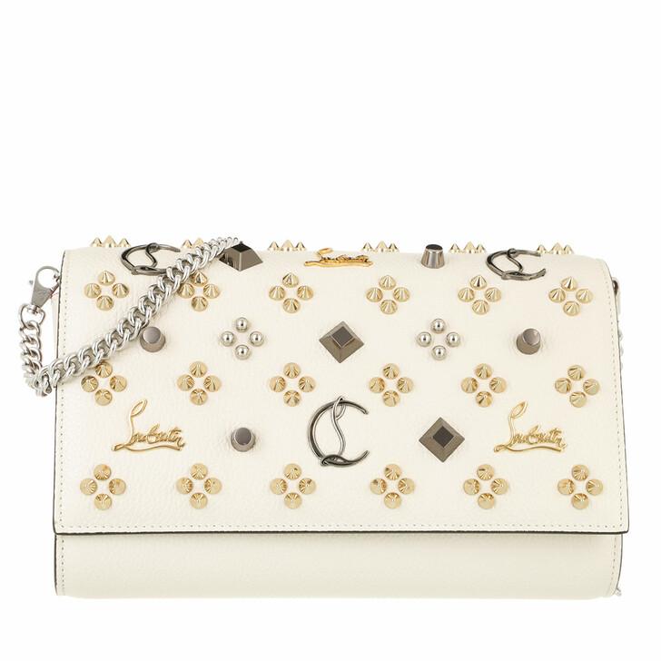bags, Christian Louboutin, Paloma Clutch Craie/Multi