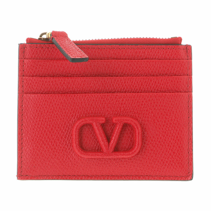 Geldbörse, Valentino, V Logo Coin And Credit Card Case Leather Red