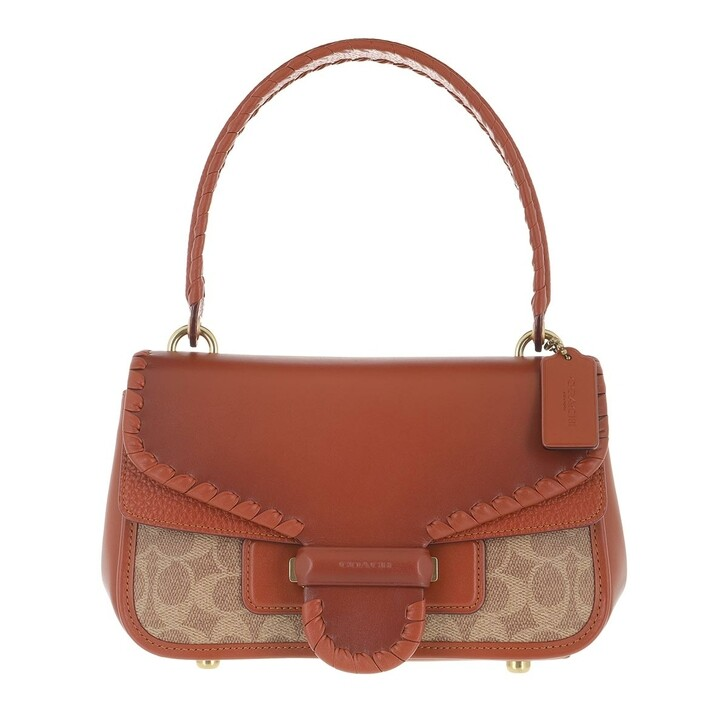 Handtasche, Coach, Coated Canvas Signature With Whipstitch Flap Cody  Tan Rust
