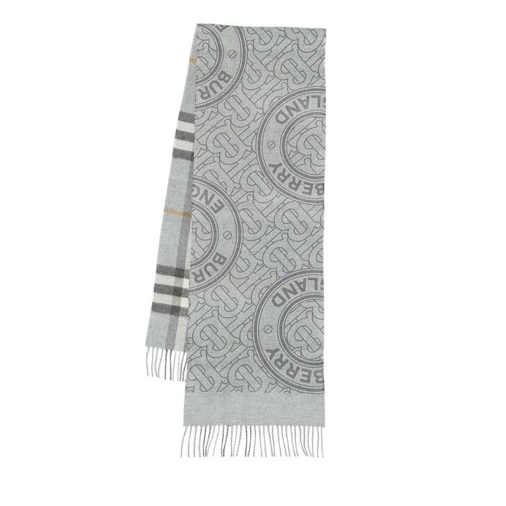 scarves, Burberry, Reversible Monogram Scarf Cashmere Light Grey