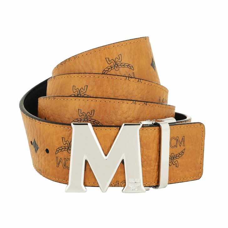 Gürtel, MCM, Reversible Belt Shiny Cobalt Buckle Cognac