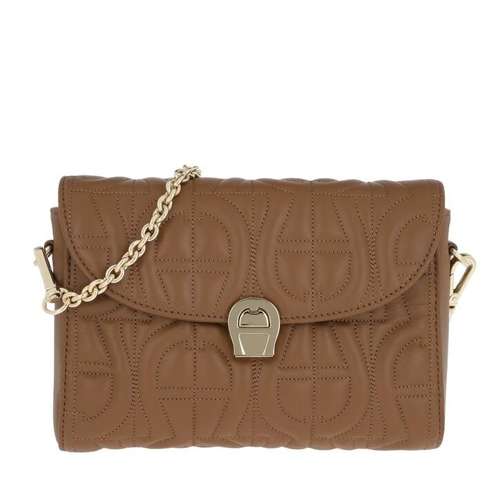 Handtasche, AIGNER, Genoveva Crossbody Dark Toffee Brown