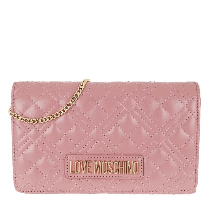 Handtasche, Love Moschino, Chain Crossbody Bag Quilted Nappa   Rosa Scuro
