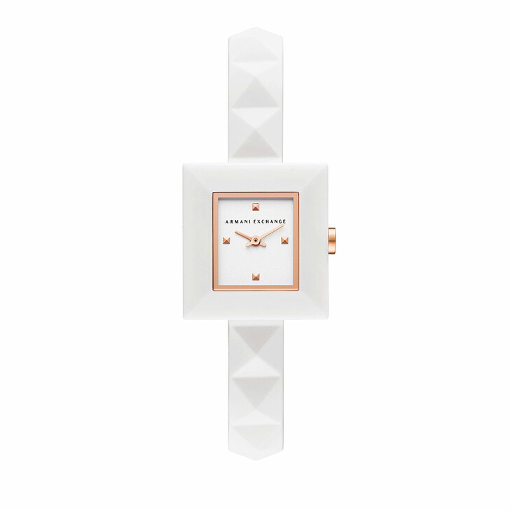 watches, Armani Exchange, Two-Hand Silicone Watch White