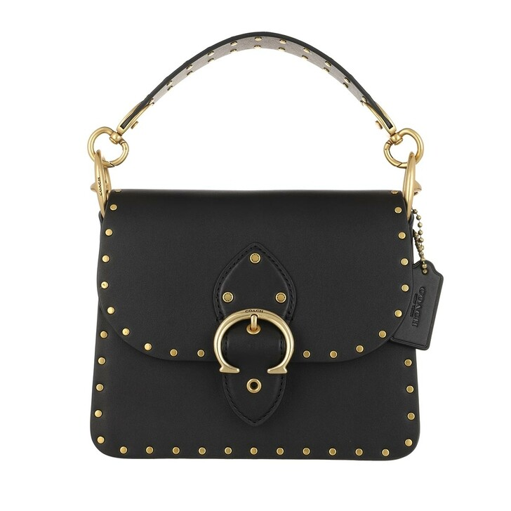 Handtasche, Coach, Glovetanned Leather With Border Rivets Beat Should B4/Black