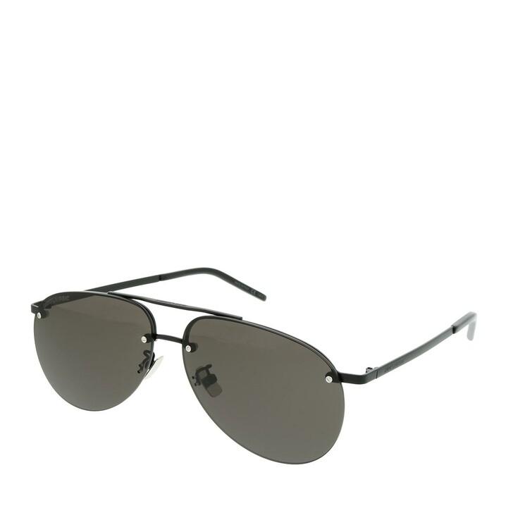 Sonnenbrille, Saint Laurent, SL 416-002 60 Sunglasses Unisex Metal Black