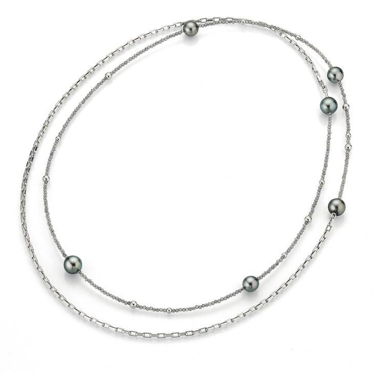 necklaces, Gellner Urban, Collier Moonstone Tahiti Pearls Silver/Anthracite