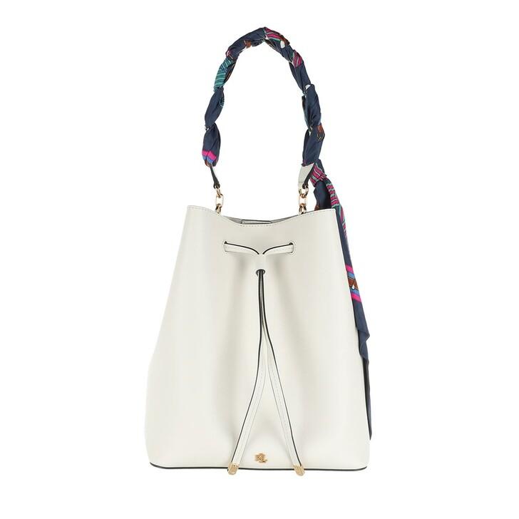 bags, Lauren Ralph Lauren, Debby Drawstring Medium Vanilla/Eqst Blt Lrn Navy