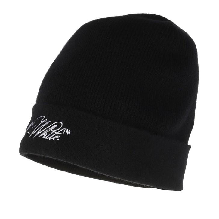 hats, Off-White, Embr Logo Wool Beanie Hat  Black White