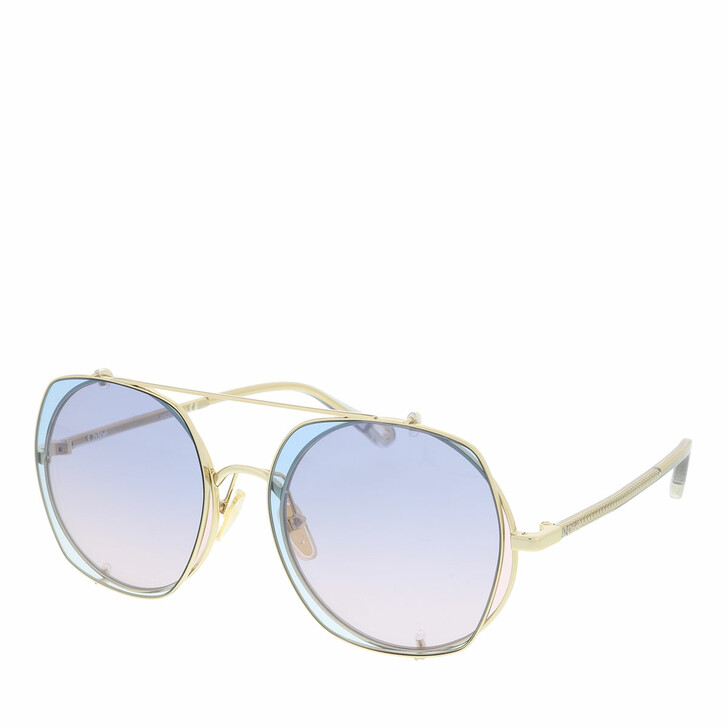 Sonnenbrille, Chloé, Sunglass WOMAN METAL GOLD-GREY-LIGHT BLUE