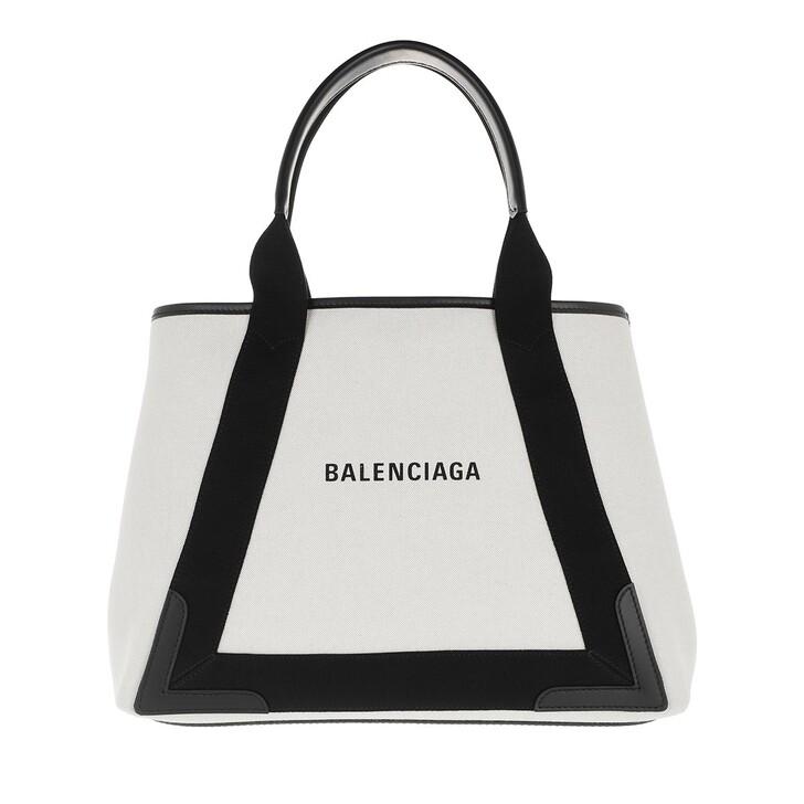 bags, Balenciaga, Medium Navy Cabas Tote Bag Natural/Black