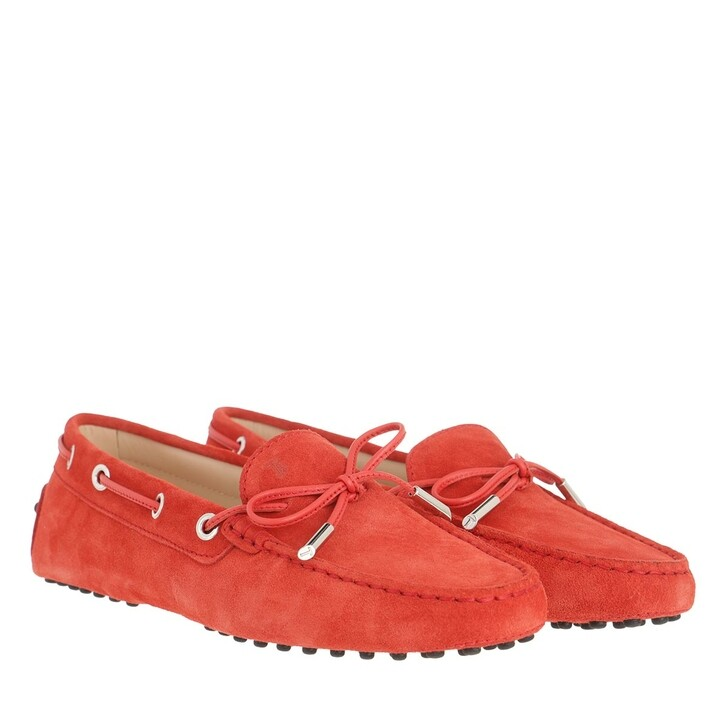 Schuh, Tod's, Heaven Loafer With Eyelets And Lace Bow Flame Scarlet