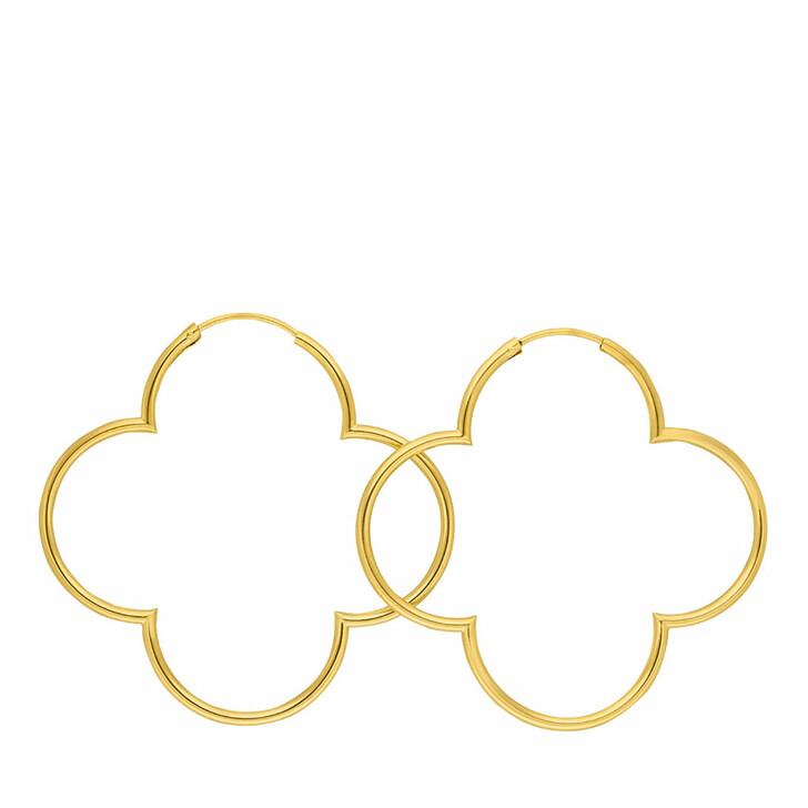 Ohrring, Leaf, Creole Clover 18K Yellow Gold-Plated
