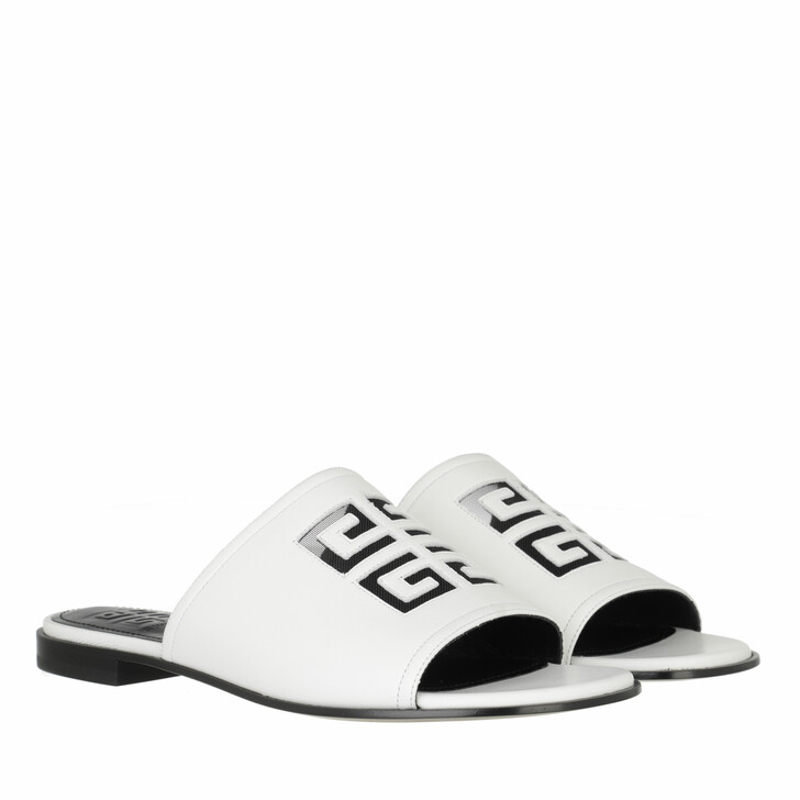 shoes, Givenchy, 4G Flat Sandals Leather White