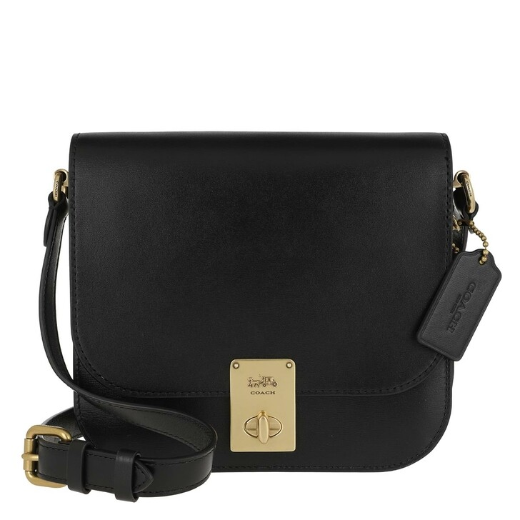 Handtasche, Coach, Box Calf Leather Hutton Saddle Bag Black