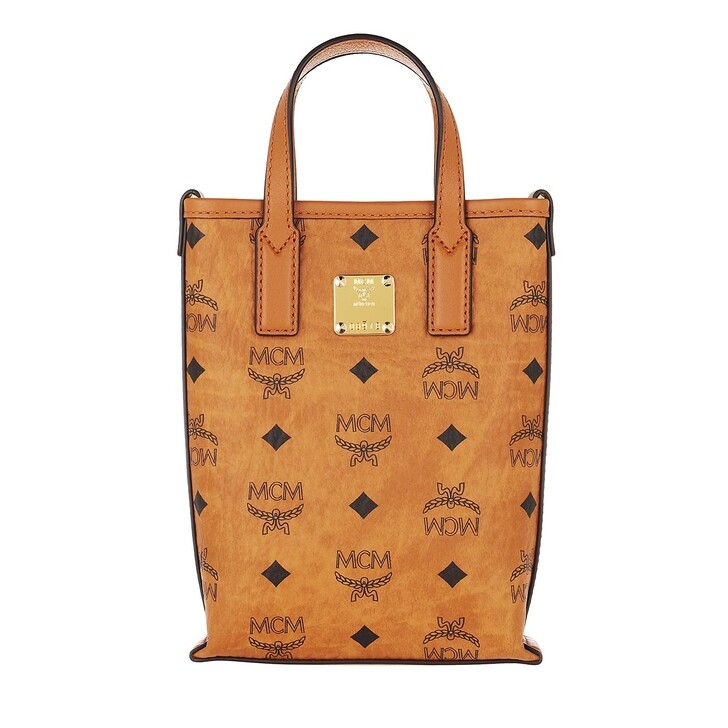 bags, MCM, Essential Visetos O Crossbody Mini  Cognac