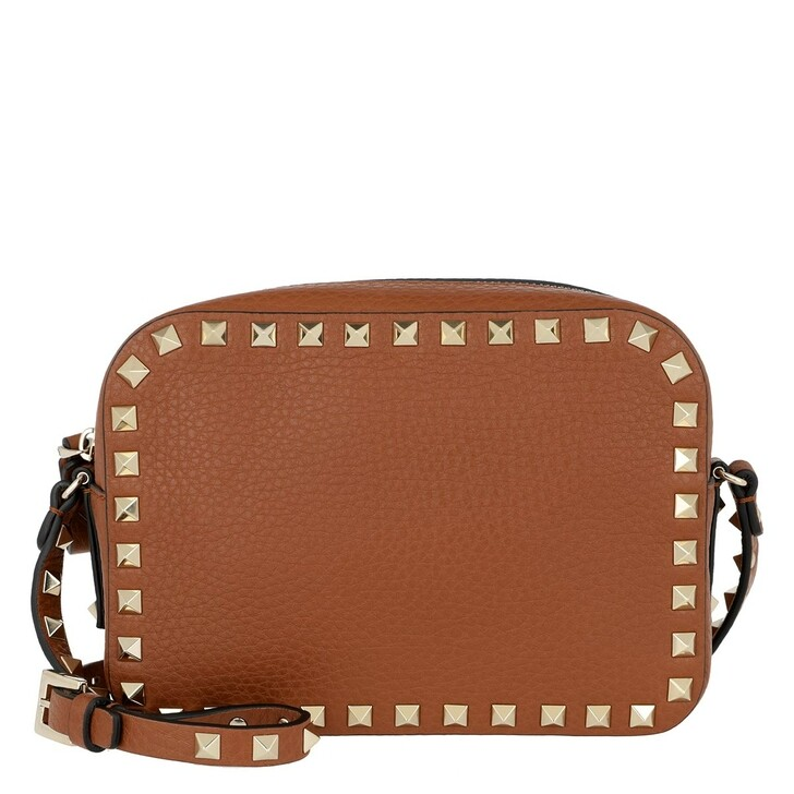 Handtasche, Valentino, Rockstud Camera Crossbody Bag Brown