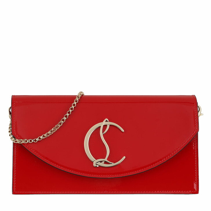 Handtasche, Christian Louboutin, Loubi 54 Crossbody Clutch Patent Leather Red