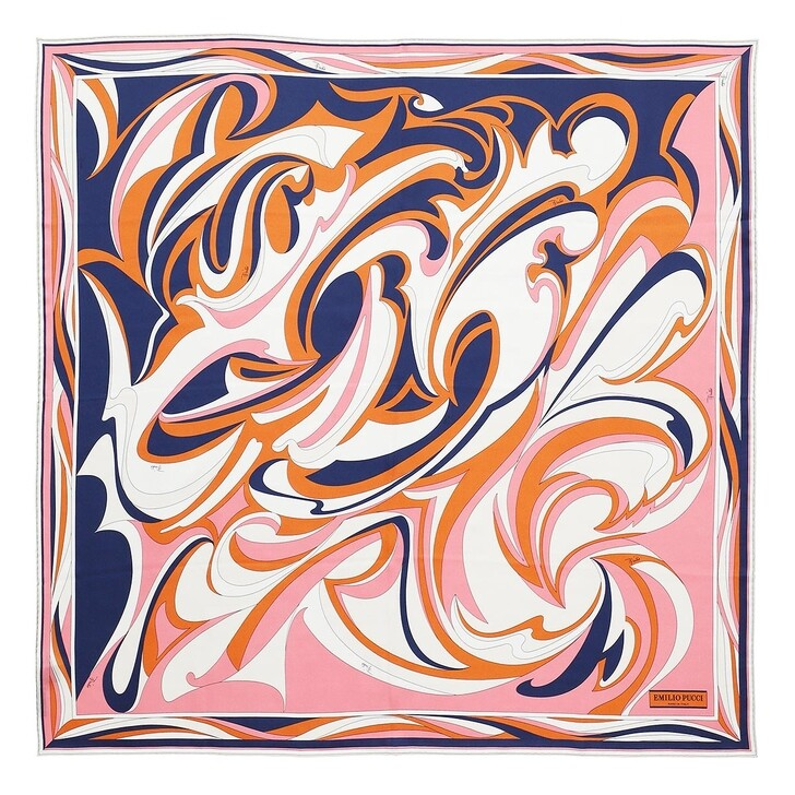 scarves, Emilio Pucci, Scarf 90X90 Arancio/Navy