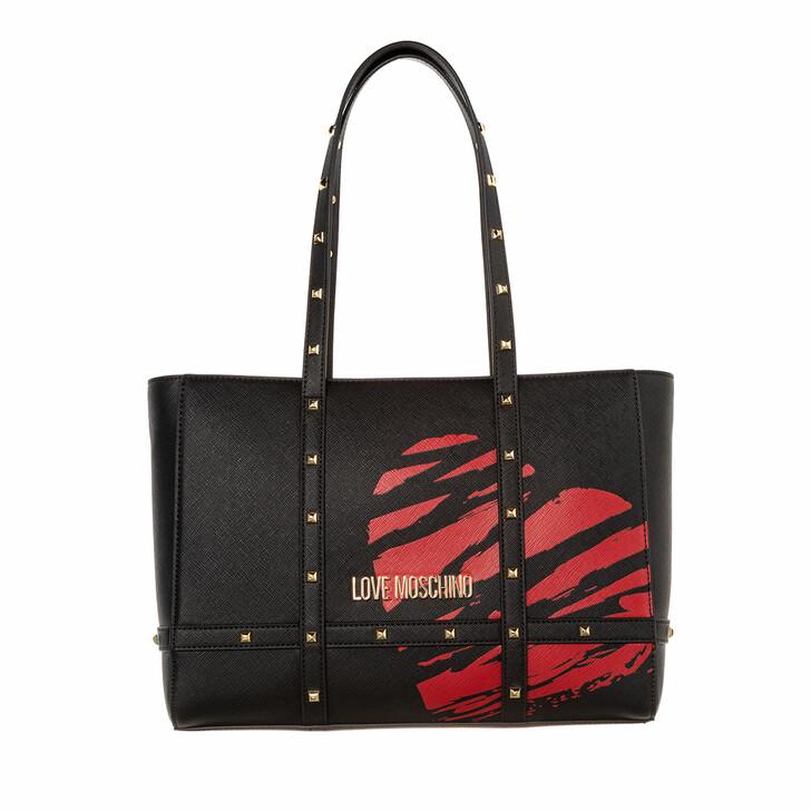 bags, Love Moschino, Handbag Black Printed Red