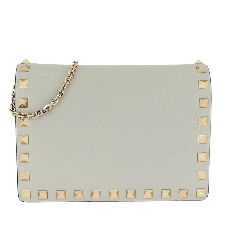 Handtasche, Valentino Garavani, Rockstud Pouch Leather Opal Grey