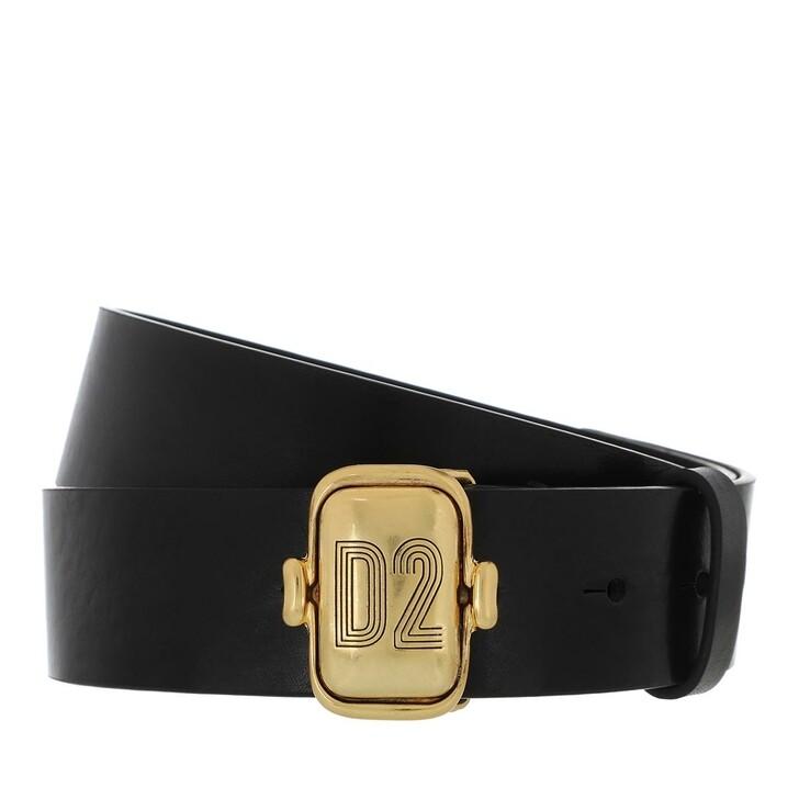 belts, Dsquared2, D2 Logo Belt Leather Black