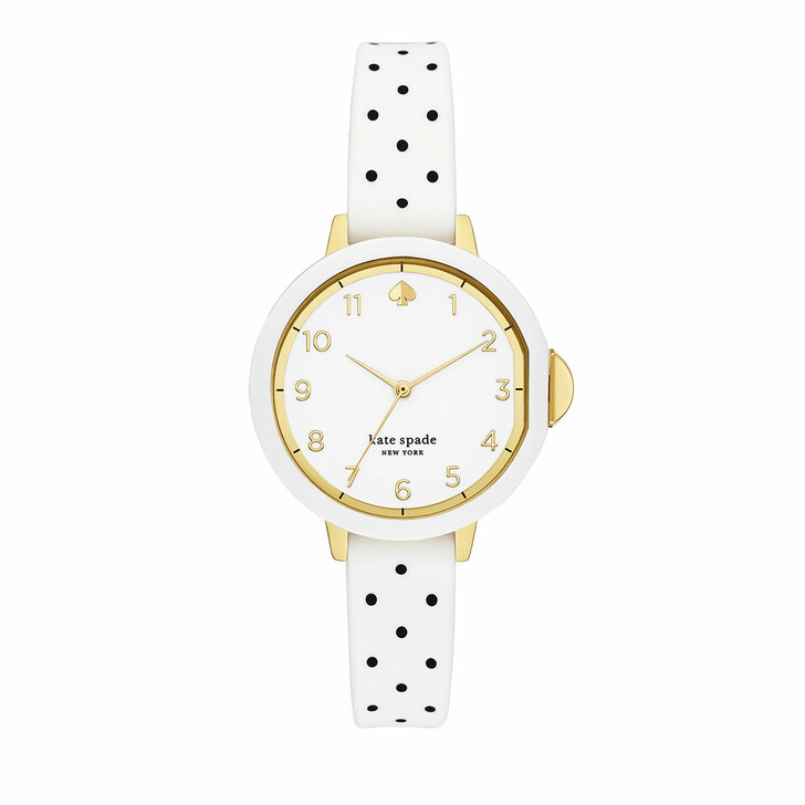 Uhr, Kate Spade New York, Park three-hand silicone watch White/Black polka dot-print