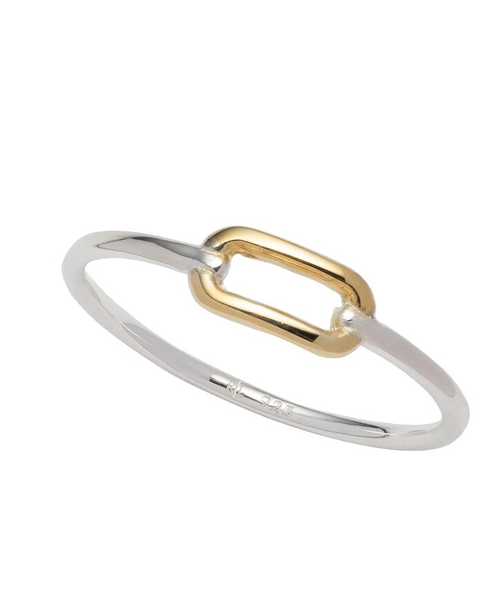 Ring, Lauren Ralph Lauren, Sterling Silver Two Tone Link Ring Silver