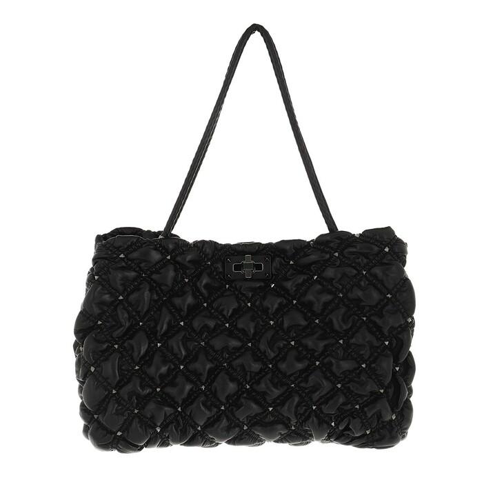bags, Valentino Garavani, Medium SpikeMe Tote Bag Quilted Leather Black