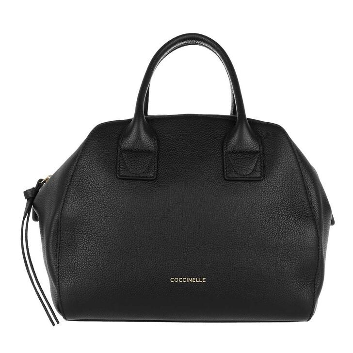 bags, Coccinelle, Concrete Journal Handle Bag Leather  Noir