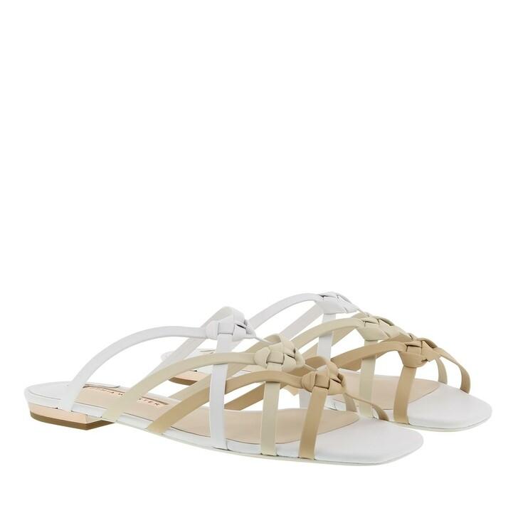shoes, Sophia Webster, Ramona Flat Slipper White Camel Mix