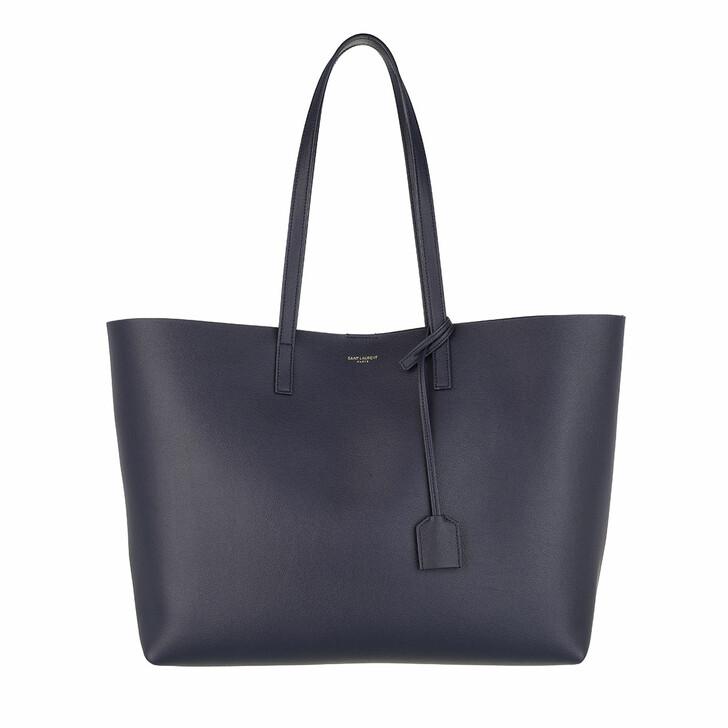 Handtasche, Saint Laurent, East West Medium Tote Leather Deep Marine