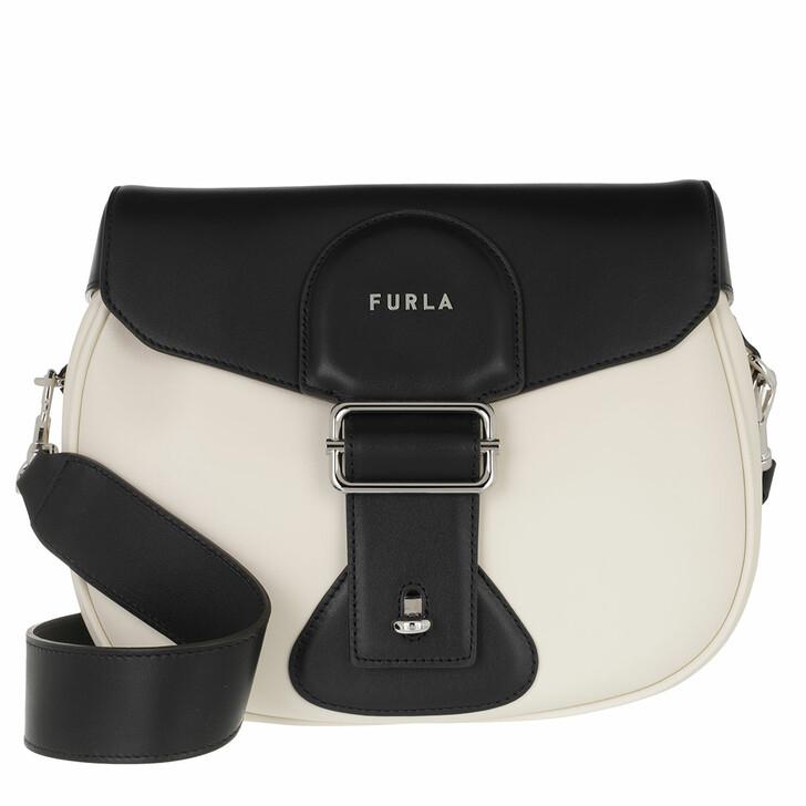 bags, Furla, Furla Amazzone S Crossbody White Cotton+Nero