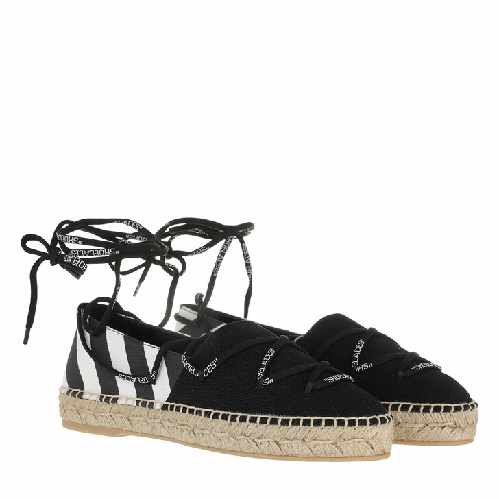 shoes, Off-White, Canvas Laces Flat Espadrillas  Beige Black