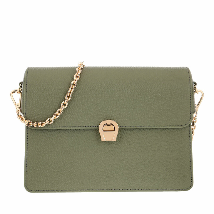 Handtasche, AIGNER, Genoveva Crossbody Bag Leather Moss Green
