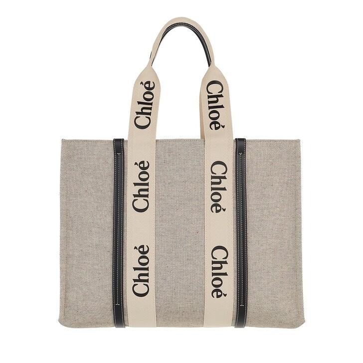 Handtasche, Chloé, Woody Logo Tote Bag  White Blue