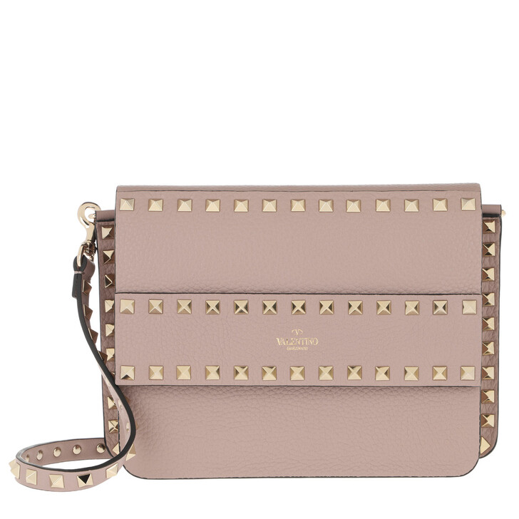 Handtasche, Valentino, Rockstud Shoulder Bag Leather Poudre