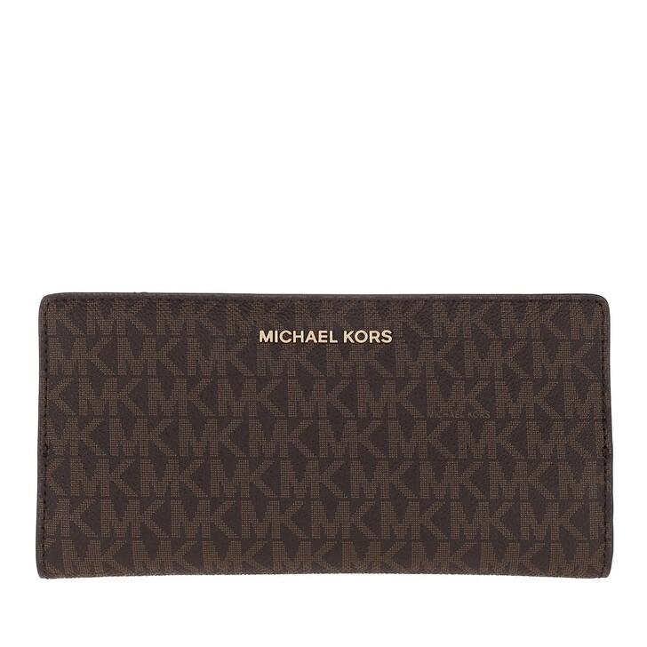 wallets, MICHAEL Michael Kors, Jet Set Large Card Carryall Brown/Acorn