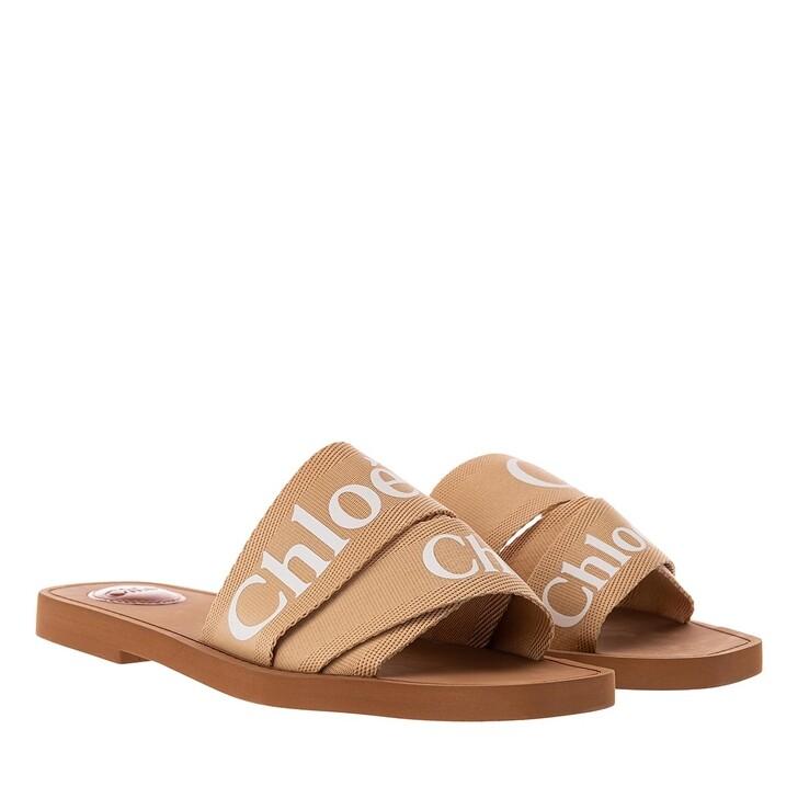 shoes, Chloé, Woody Canvas Logo Sandals Soft Tan