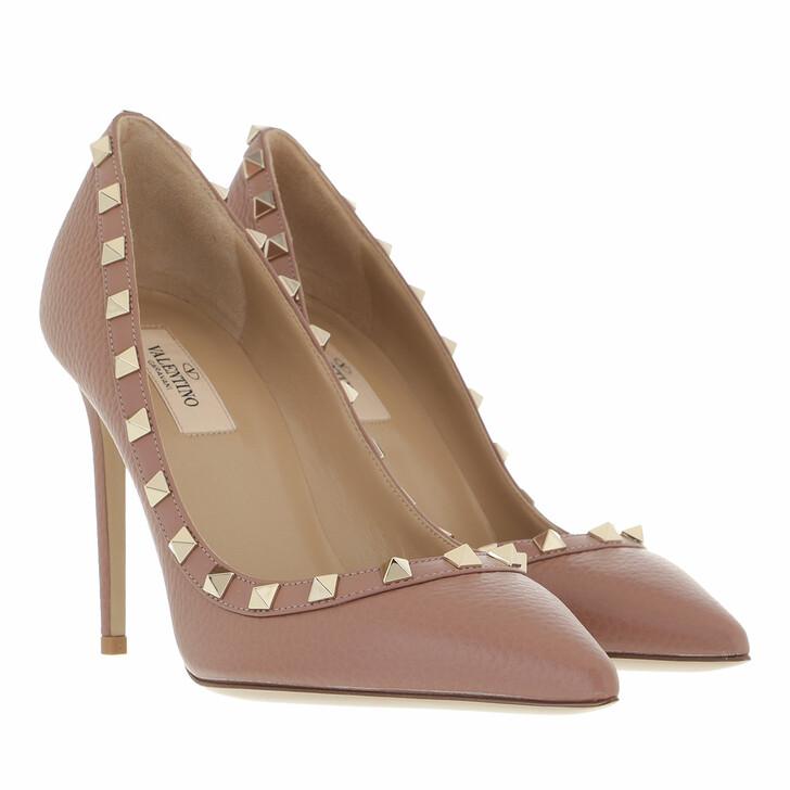 shoes, Valentino Garavani, Rockstud Pump Grained Leather Dark Nude