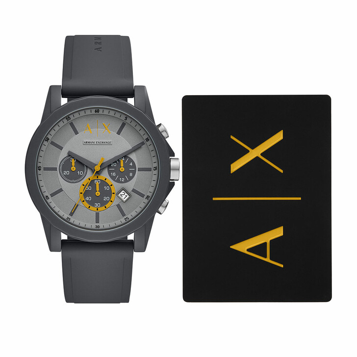 Uhr, Armani Exchange, Men Silicone Watch and Cardholder Gift Set Grey